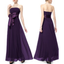 Vintage Strapless Floor Length Chiffon Bridesmaid Dresses with Sashes