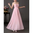 Custom Sweetheart Long Chiffon Pleated Bridesmaid/ Wedding Party Dress