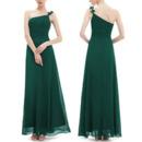 Elegant One Shoulder Spaghetti Straps Long Chiffon Bridesmaid Dresses