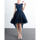 Affordable Sleeveless Open Back High-Low Lace Cocktail Party Dresses with Pleated Skirt