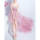 Sexy Sweetheart High-Low Organza Layered Skirt Cocktail Party Dresses