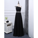 Custom One Shoulder Floor Length Chiffon Black Evening/ Prom Dresses
