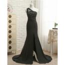 Affordable Sheath One Shoulder Floor Length Chiffon Evening Dresses