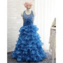Designer Halter Crystal Detailing Layered Skirt Girls Party Dresses for Juniors/ Gorgeous Tiered Flower Girl Dresses