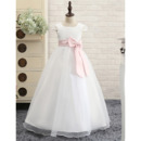 Catholic Square Neck Long Length First Communion Dress with Cap Sleeves/ Simple Flower Girl Dresses with Satin Waistband