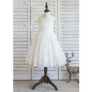 Cute Ivory Knee Length Lace Flower Girl/ First Communion Dresses with Open Back