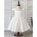 Adorable Ball Gown Short Satin Flower Girl Dresses with Cap Sleeves