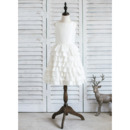 Pretty Ivory A-Line Knee Length Taffeta Layered Skirt Flower Girl Dresses