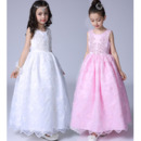 Beautiful Ball Gown Ankle Length Beaded Appliques Lace White Flower Girl Dresses/ First Communion Dresses