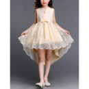 Discount V-cut Neck High-Low Asymmetrical Hem Short Lace Little Girls Party Dresses with Bows