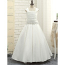 Discount A-Line Square Neck Long Satin Flower Girl/ Ruched Bodice First Communion Dresses with Beaded Waist