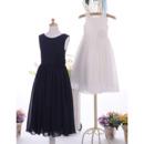 Simple Discount Sleeveless Tea Length Chiffon Flower Girl Dresses with Handmade Flowers