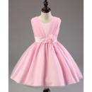 Discount Ball Gown Sleeveless Knee Length Satin Pink Flower Girl Dresses with Ruched and Flower Waistband