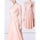 Illusion Neckline Evening Dresses