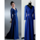 Junoesque Double V-Neck Floor Length Ruching Chiffon Mother of The Bride Dresses with 3/4 Long Sleeves and Beaded Waist