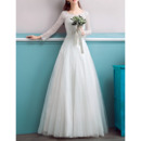 Exquisite Illusion Round Neckline Full Length Lace Tull Wedding Dresses with Long Sleeves