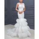 Modern Sexy Appliques Illusion Bodice Wedding Dresses with Mermaid Tiered Skirt