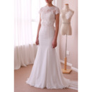 Vintage Sheath Sweep Train Chiffon Wedding Dresses with Short Sleeves