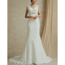 Elegant V-Neck Sleeveless Sweep Train Lace Backless Wedding Dresses