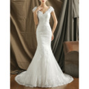 Tailored Delicate Mermaid V-Neck Tulle Embroidery Applique Beadings Wedding Dresses with Slight Cap Sleeves