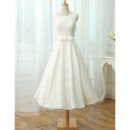 Simple A-Line Sleeveless Tea Length Lace Reception Wedding Dresses
