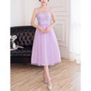 Discount A-Line Illusion Neckline Sleeveless Tea Length Lace Tulle Satin Bridesmaid Dresses