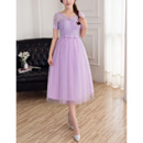 Discount A-Line Tea Length Lace Tulle Bridesmaid Dresses with Short Sleeves
