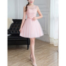 Simple Petite Illusion Neckline Sleeveless Mini/ Short Lace Tulle Bridesmaid Dresses
