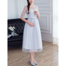 Inexpensive Illusion Neckline Tea Length Lace Tulle Grey Bridesmaid Dresses with Half Sleeves