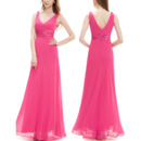 Simple Discount Double V-Neck Sleeveless Long Chiffon Bridesmaid Dresses with Ruched Waist