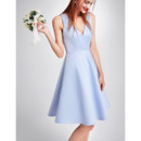 Discount Simple and Elegant V-Neck Sleeveless Mini/ Short Satin Cocktail Party Dresses