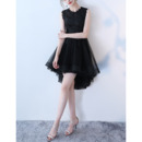 Discount Affordable Sleeveless High-Low Asymmetrical Hem Lace Tulle Black Cocktail Party Dresses