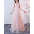 Charming Romantic V-Neck Full Length Lace Evening Dresses with Short Sleeves