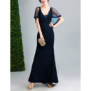 Junoesque Beaded Neckline Sheath V-Neck Floor Length Lace Tulle Evening Dress with Shawl