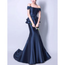 Stylish Off-the-shoulder Floor Length Appliques Satin Prom Evening Dresses with Tiered Skirt