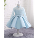 Exquisite Baby Girl Mandarin Collar Knee Length Lace Satin Flower Girl Dress with Long Sleeves and Crystal Detailing