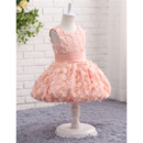 Pretty Baby Girl Sleeveless Knee Length Flower Girl Dresses with Allover Appliques and Pleated Waist