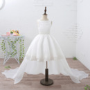 Classy Perfect Ball Gown Beaded Neck Organza Short Flower Girl Dresses with Detachable Train and Appliques