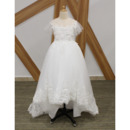 Perfect Kids Princess Illusion Neckline High-Low Appliques Tulle Flower Girl/ Communion Dresses with Short Sleeves