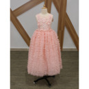 Pretty Tea Length Ruffle Skirt Pink Flower Girl Dresses with Beaded Lace Appliques