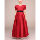 Classic Ankle Length Pleated Satin Little Girls Holiday Dress with Short Puff Sleeves and Sash