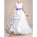 Lovely Full Length Chiffon Layered Skirt Flower Girl Dresses with Flower Waistband