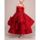 Perfect Spaghetti Straps Ankle Length Red Satin Layered Skirt Little Girls Pageant Dresses