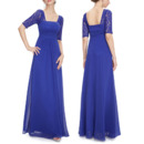 Stunning Square Neck Full Length Ruching Chiffon Mother of The Bride Dresses with Half Lace Sleeves
