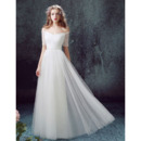 Affordable Off-the-shoulder Pleated Tulle Wedding Dresses with Beaded Waist