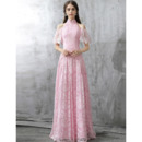 Elegant Mandarin Collar Cold Shoulder Long Lace Prom Evening Dresses