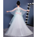 Fashionable Inexpensive High-Low Sweep Train Asymmetrical Hem Flower Girl Dresses with Delicate Illusion Sleeves