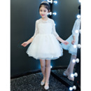 Pretty A-Line Round Neck Short Organza Lace White Flower Girl Dresses with 3/4 Length Sleeves