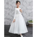 Classic Ball Gown Ankle Length Appliques Satin Tulle Flower Girl Dresses with Long Sleeves/ White Plus Size First Communion Dres