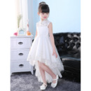 Fashionable A-Line Mandarin Collar High-Low Asymmetrical Hem Tulle Flower Girl Dresses with Beaded Appliques